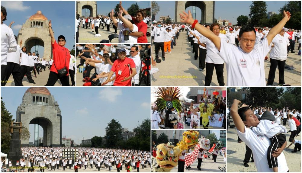 En un gran ambiente de armonía y fraternidad, y con la participación de cerca de 10 mil personas, se logró rebasar la meta propuesta para la Mega Clase de Taichí del Movimiento México Unido por el Taichí para promover un arte marcial por la salud y romper el récord de la mayor clase de la disciplina fuera de China.