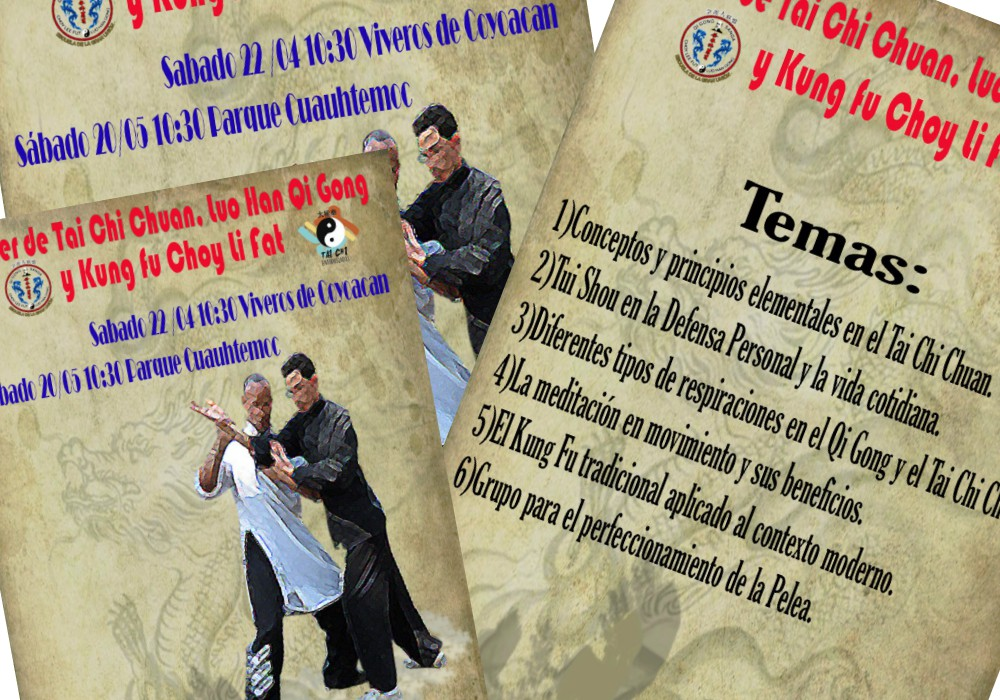 Técnicas de respiración, meditacioón en movimiento, defensa personal, kung fu para la vida moderna y otros temas serán parte de un taller de artes marciales que se ofrecerá para todo el público el próximo sábado, al sur de la Ciudad de México.