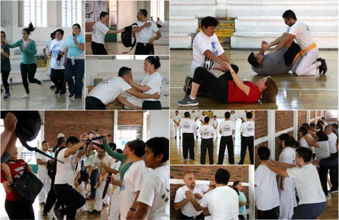 Técnicas de defensa personal contra abrazos, estrangulaciones y utilización de mochilas o bolsos, fueron parte de los temas que aprendieron amas de casa, estudiantes y profesionistas que acudieron a la Súper Clase de la Federación Sudamericana de Krav Maga-México.