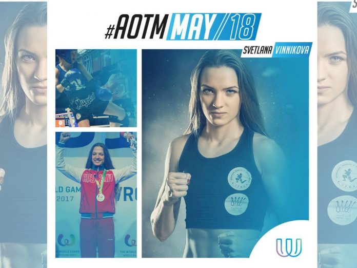 La atleta Svetlana Vinnikova, defensora de las mujeres en el deporte, atleta del año en artes marciales en Rusia y Campeona Mundial de Muaythai 2017, fue declarada atleta del mes por los Juegos Mundiales (The World Games).