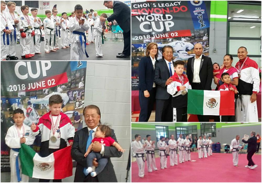 Una pareja de niños y su profesor de taekwondo en Huajuapan de León, Oaxaca, pusieron en alto el nombre de México al lograr ganar cinco medallas en Copa Mundial de Taekwondo CH ITF Otawa 2018.