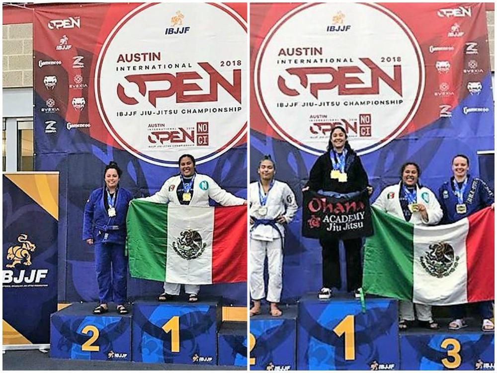 Marianne 'La Osa' Gaviño, se lució sobre el tatami y levantó la bandera de México por dos ocasiones en el pódium de ganadores del Open Austin IBJJF 2018.