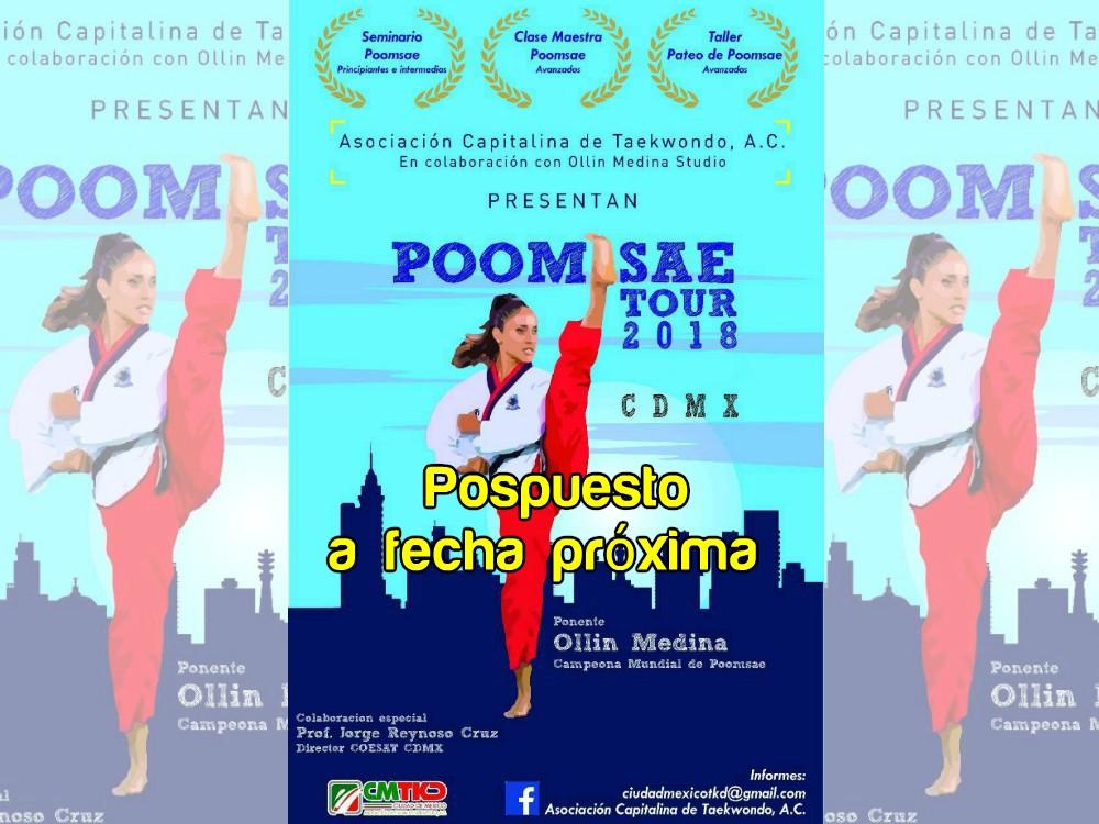 La Asociación Capitalina de Taekwondo (ACTKD) anunció que el Taller de Poomsae con la multimedallista internacional de formas, Ollin Medina, será pospuesto para fechas próximas.