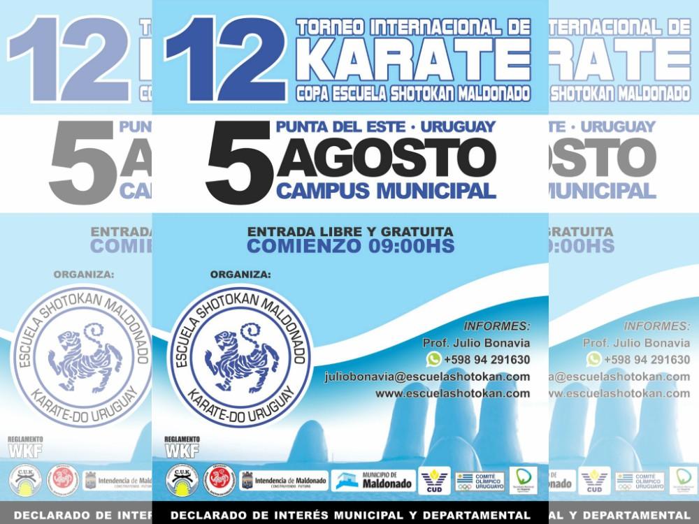 La ciudad de Maldonado, Uruguay, será sede del 12º Torneo Internacional de Karate Copa Escuela Shotokan Maldonado.
