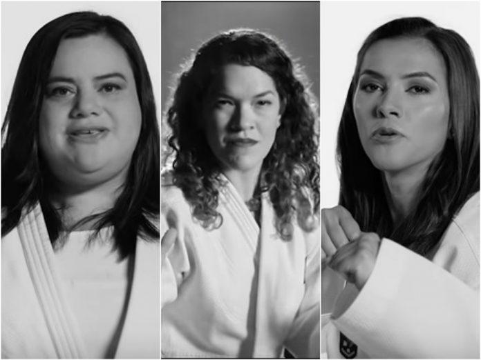 """Las judocas Vanessa Zambotti y Lenia Ruvalcaba, así como la taekwondoín María Espinosa, forman parte del grupo que aparecen en el nuevo video de la canción por la libertad de las mujeres, """"Ser Paloma""""."""