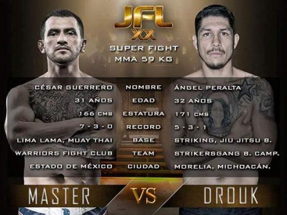 Peleas estelares por campeonatos Super Fight 59kg, Interino de 145 libras y MMA 170 libras.
