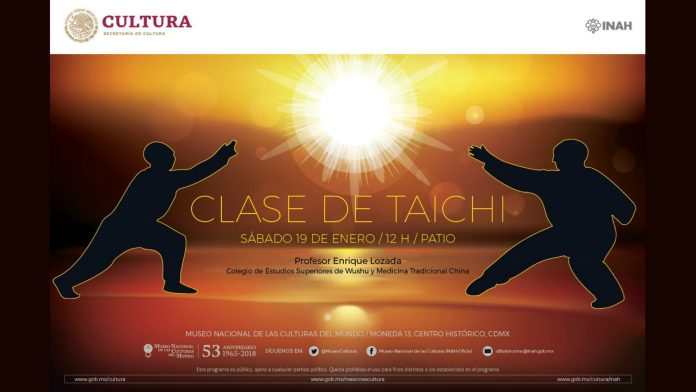 El Museo Nacional de las Culturas del Mundo será el espacio de lujo donde iniciarán las actividades del Movimiento Nacional México Unido por el Taichí en 2019, gracias a una Clase Abierta y gratuita del arte marcial como herramienta para mantener y fortalecer la salud.