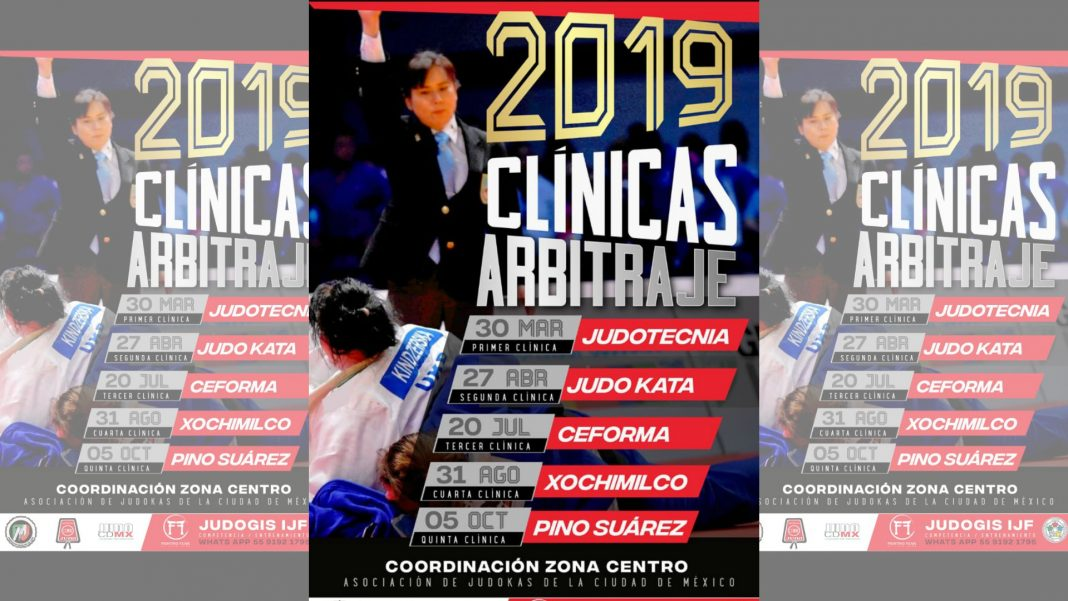 Clubes y escuelas de judo en la Ciudad de México serán sede de la serie de Clínicas de Arbitraje 2019, a fin de que la comunidad judoca cuente con los elementos que rigen y estarán vigentes dentro de las próximas competencias del arte marcial.
