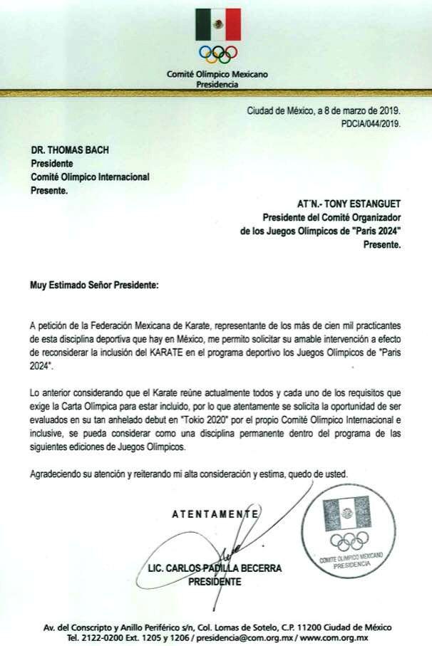Carta del COM dirigida al COI COJOP2024. Imagen tomada de Facebook FEMEKA.